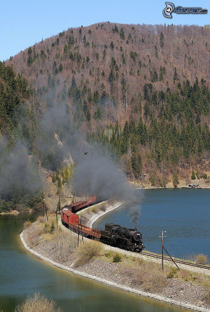train à vapeur, train de marchandises, réservoir d'eau, Palcmanská Maša, barrage