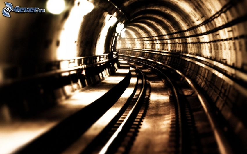 tunnel, métro, rails