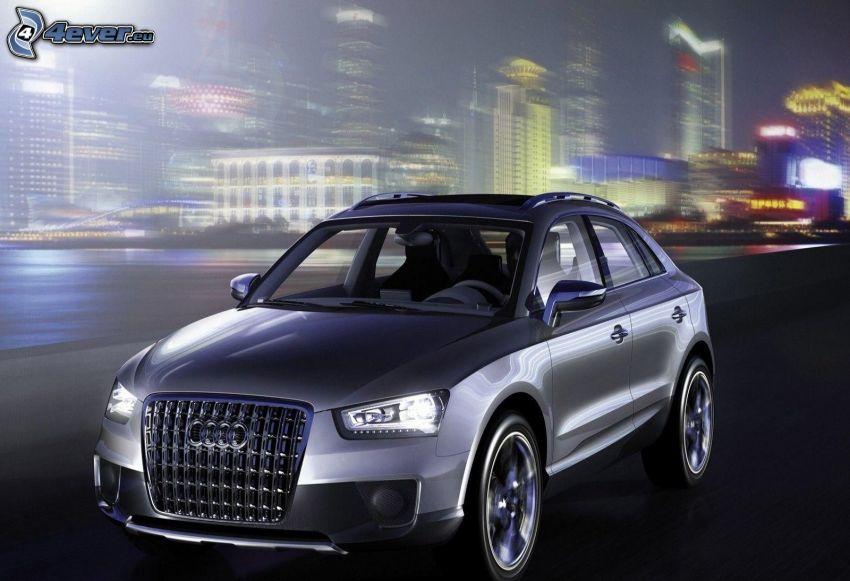 Audi Q3, la vitesse, ville dans la nuit