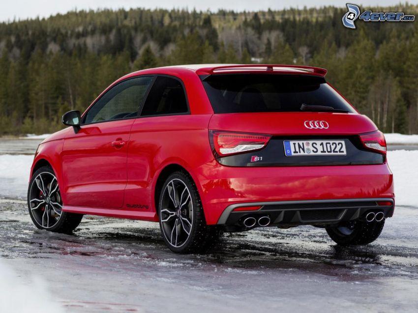 Audi S1, forêt, glace