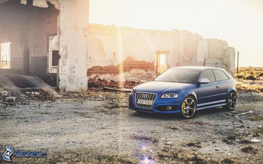 Audi S3, ruines, rayons du soleil