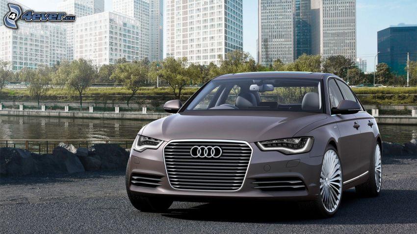 Audi S6, gratte-ciel, rivière