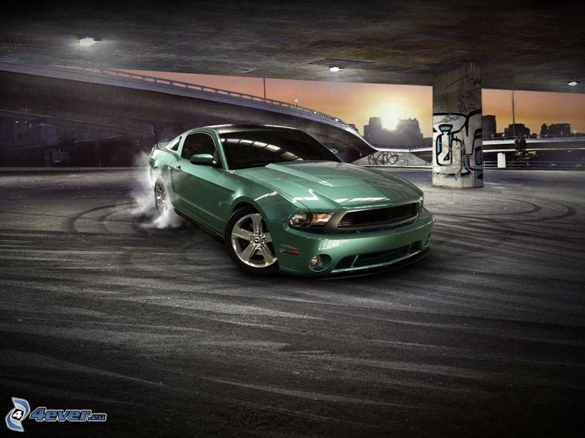 Ford Mustang, burnout, fumée, sous le pont