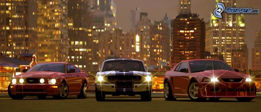 Ford Mustang, voitures, ville dans la nuit