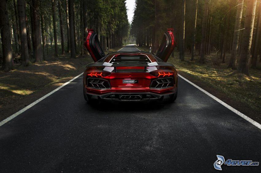 Lamborghini Aventador, route par la forêt, forêt, rayons du soleil