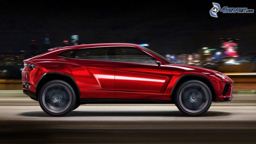 Lamborghini Urus, la vitesse, ville dans la nuit