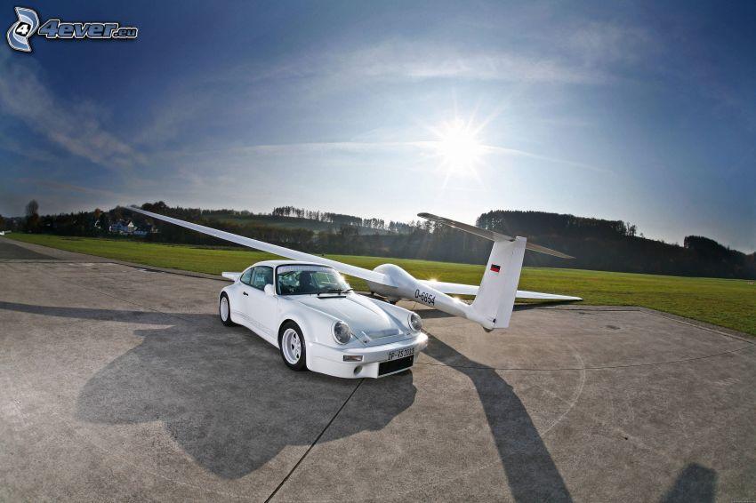Porsche 911, automobile de collection, avion, glider