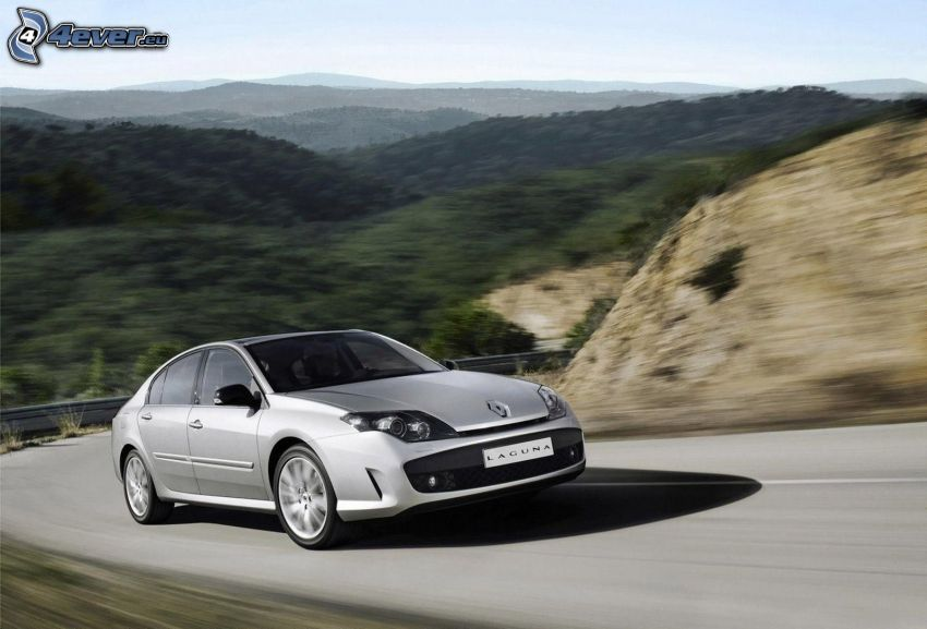 Renault Laguna, route, la vitesse, collines