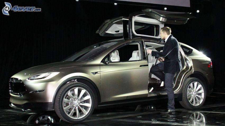Tesla Model X, concept, porte, falcon doors, Elon Musk