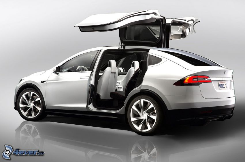 Tesla Model X, porte, falcon doors