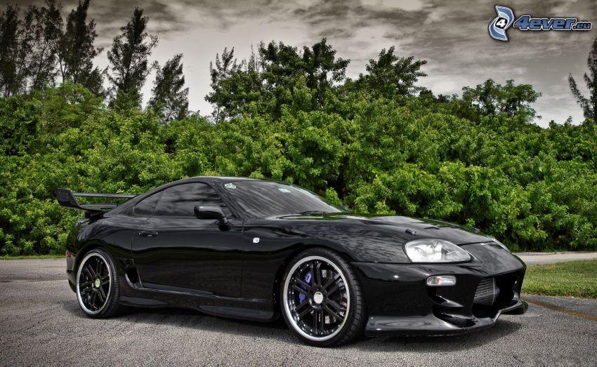 Toyota Supra, arbres, ciel sombre, HDR