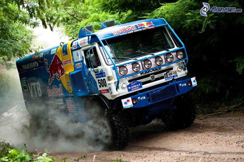 camion, la poussière