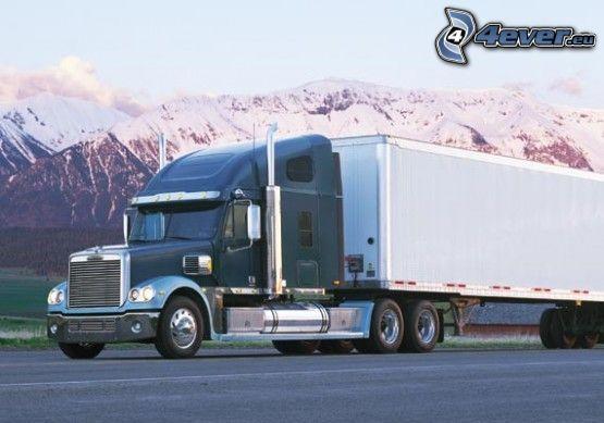 camion, montagnes, neige