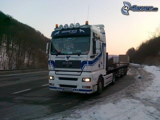 tracteur routier, route, neige