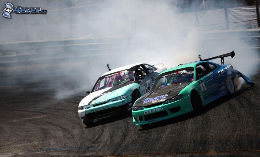 drift, voiture de course, fumée