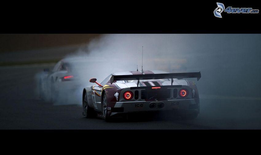 Ford GT40, voiture de course, fumée