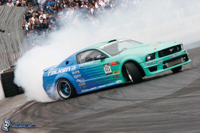 Ford Mustang, drift, fumée, spectateurs