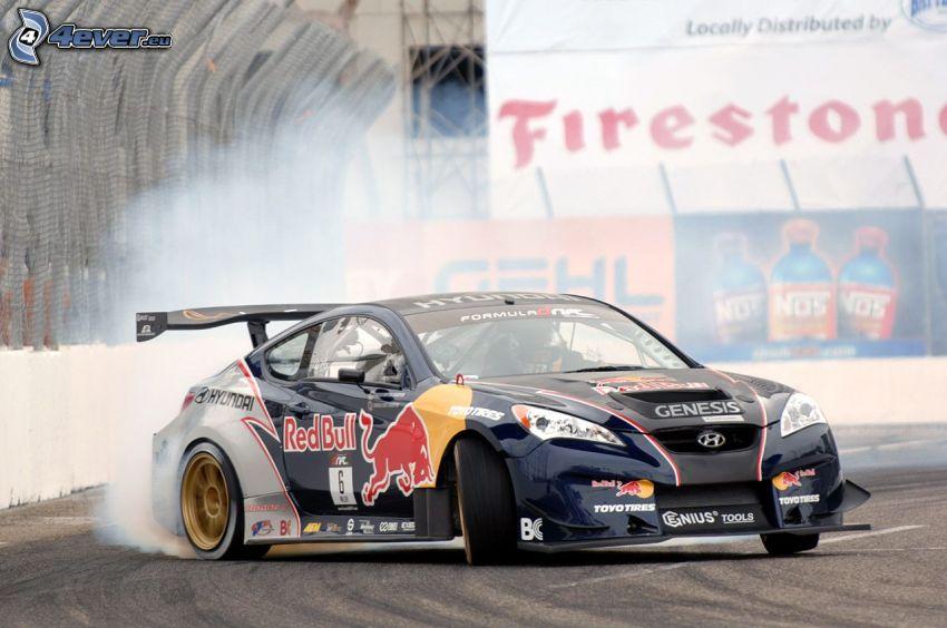 Hyundai Genesis, drift, fumée