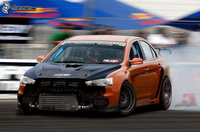 Mitsubishi Lancer Evolution X, la vitesse, drift, fumée