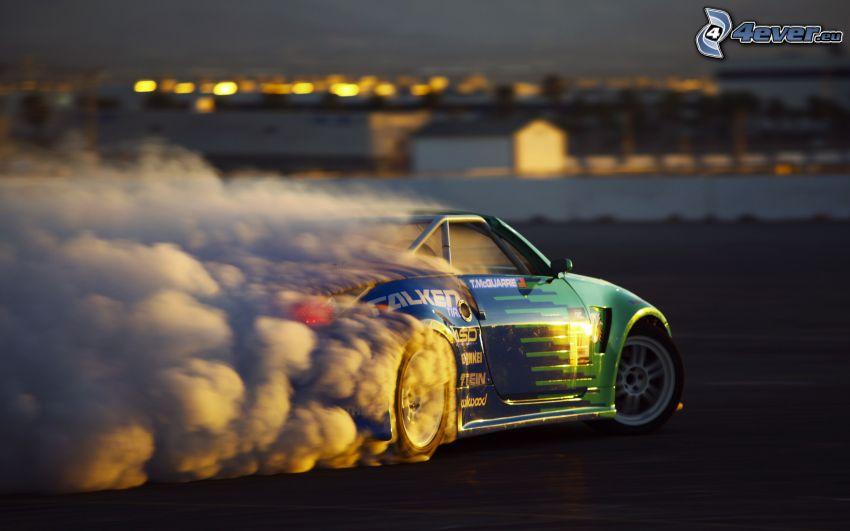 Nissan 350Z, burnout, fumée