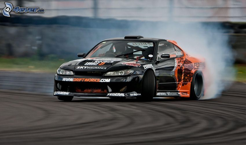 Nissan Silvia, drift, fumée