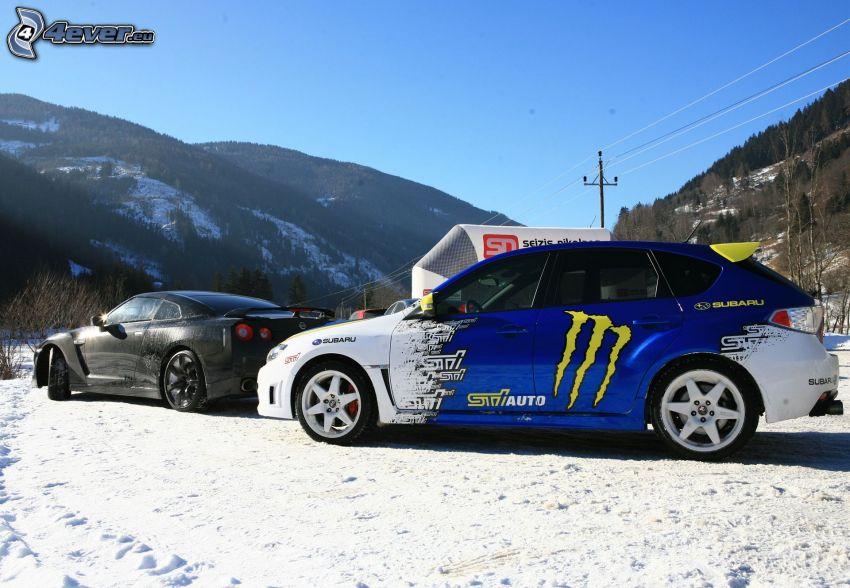 Subaru, Nissan, neige