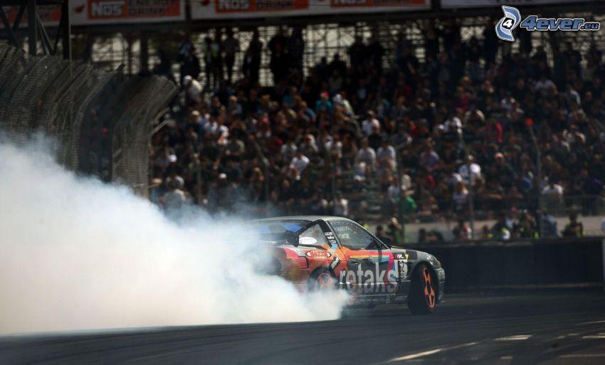 voiture de course, drift, fumée, spectateurs