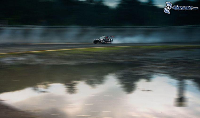 voiture de course, drift, fumée