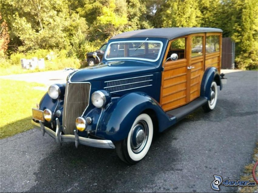 Ford Woody, automobile de collection, route, arbres
