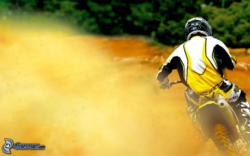 motocross, la poussière