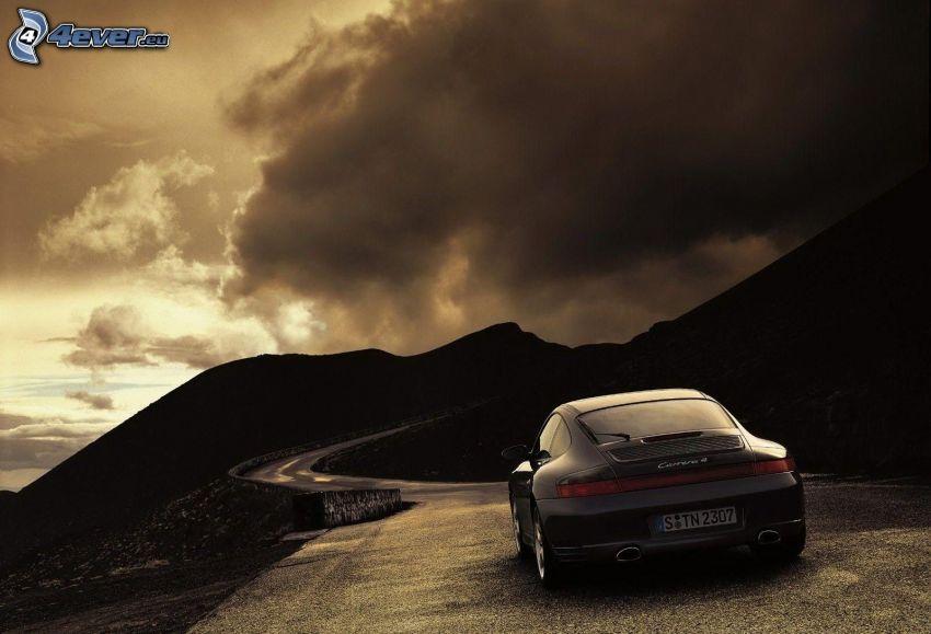 Porsche Carrera, route, collines, nuage