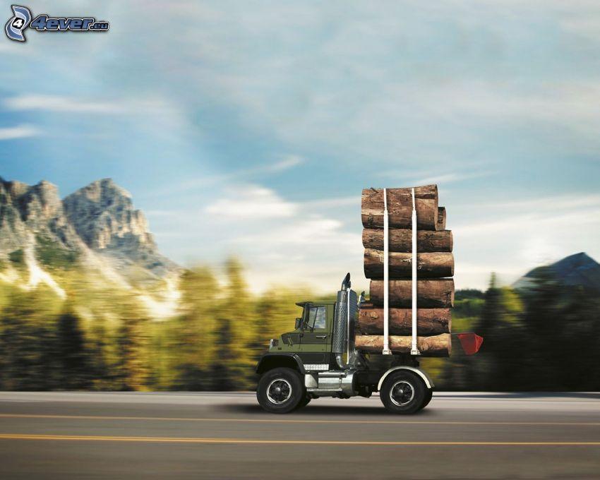 tracteur routier, bois, la vitesse, route, Photoshop