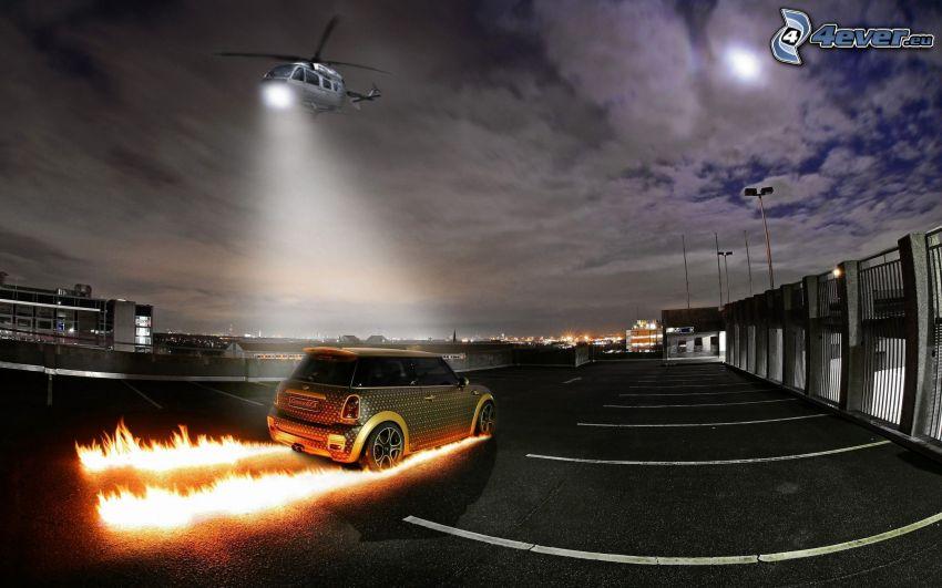 Mini Cooper, étincelles, hélicoptère, lumière, parking, nuages