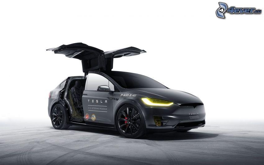 Tesla Model X, porte, falcon doors