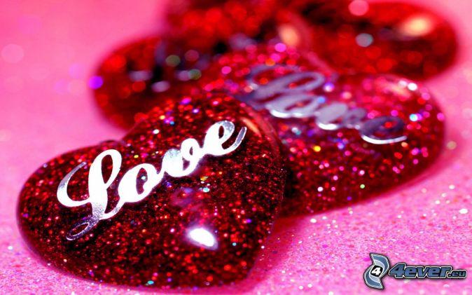 cuori rossi, love, glitter