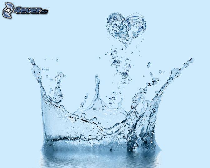 splash, cuore, acqua