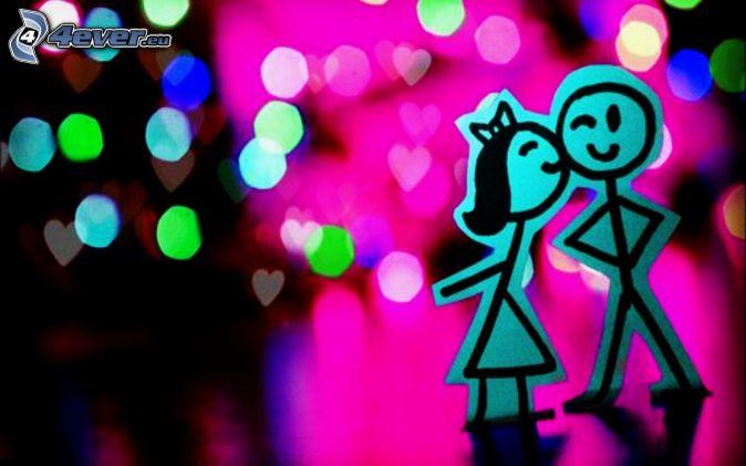 coppia, bacio, cartone animato