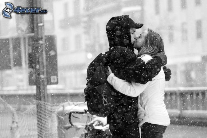coppia, bocca, neve, nevicata