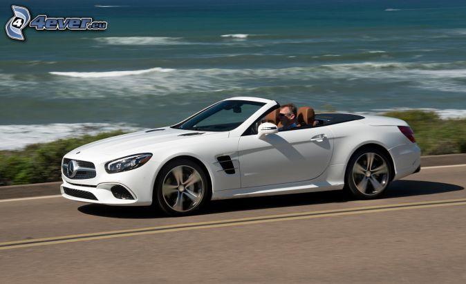 Mercedes SL, cabriolet, alto mare, velocità