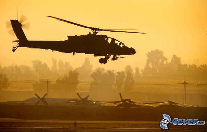 AH-64 Apache, cielo giallo, dopo il tramonto, siluetta di elicottero