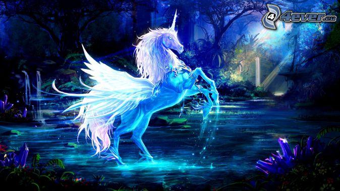 cavallo bianco, paesaggio fantasy