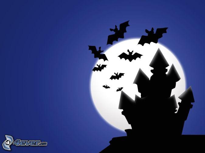 pipistrelli, castello, luna, siluette
