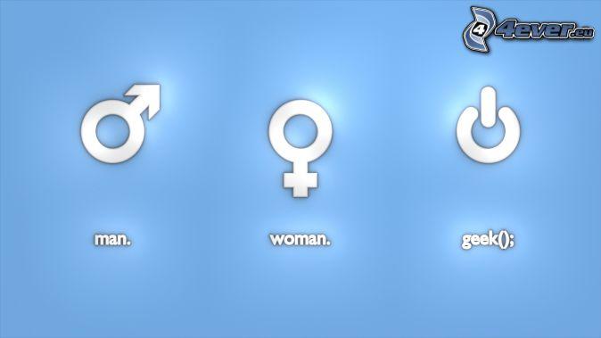 uomo, donna, geek, simboli