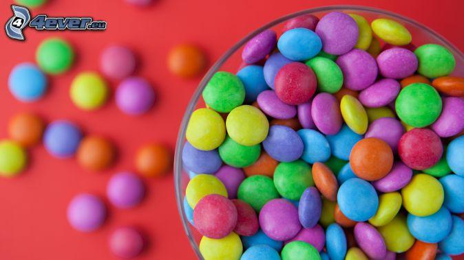 caramelle colorate, Smarties, ciotola