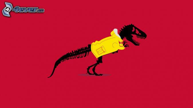 dinosauro, scheletro, giacca