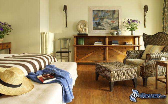 camera da letto , sedia , letto matrimoniale , scaffali , pittura