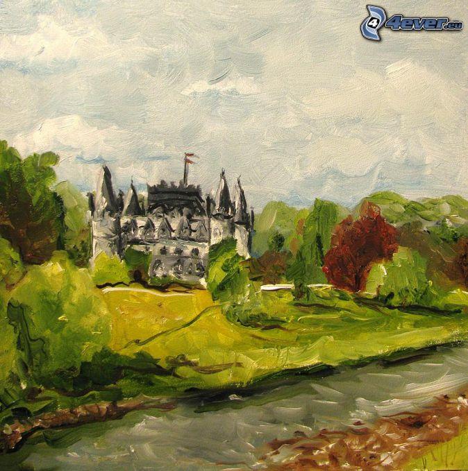 castello Inveraray, cartone animato, il fiume, foresta