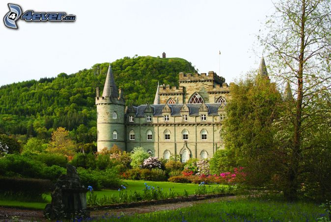castello Inveraray, parco, collina
