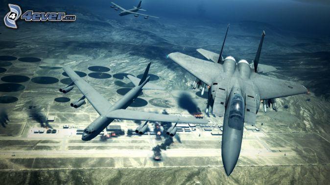 Ace Combat 6, aerei da caccia, aeroporto