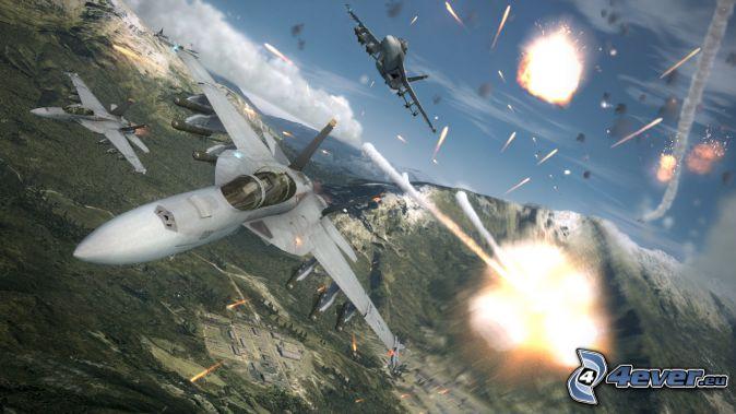 Ace Combat 6, aerei da caccia, fucileria, montagna rocciosa